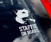Staffordshire bullterrier (staffie) bildekal - on board