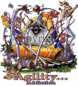 Keeshond agility 2 t-shirt McCartney