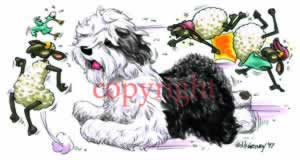 Old english sheepdog at play t-shirt McCartney