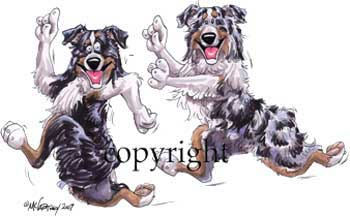 Australian shepherd at play 3 t-shirt McCartney