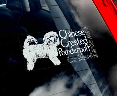 Chinese crested dog powder puff bildekal - on board