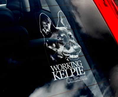 Working kelpie bildekal V2 - on board