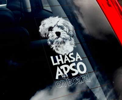 Lhasa apso bildekal - on board