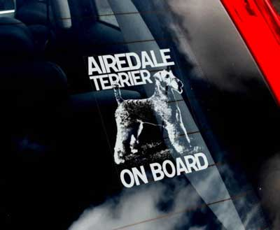 Airedaleterrier bildekal - on board