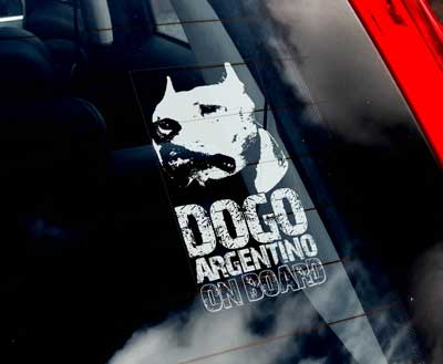 Dogo argentino (huvud) bildekal - on board