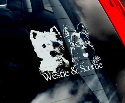 Skotsk terrier / West highland white terrier bildekal - on board