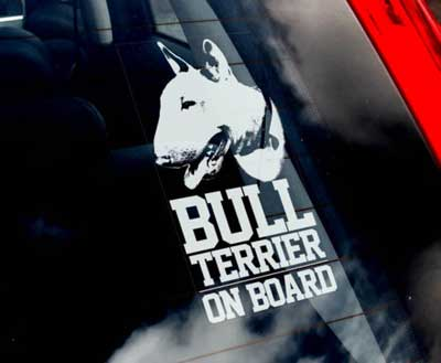 Bullterrier bildekal - on board