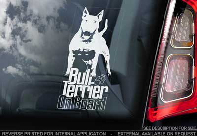 Bullterrier bildekal V7 - on board