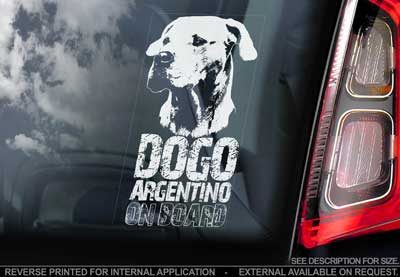 Dogo argentino bildekal V3 - on board
