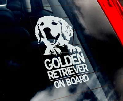 Golden retriever bildekal - on board