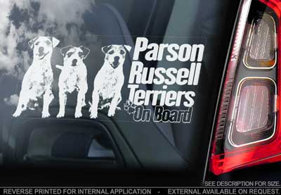Parson russell terrier bildekal V2 - on board