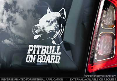 Amerikansk pitbullterrier bildekal V2 - on board