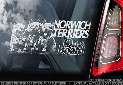 Norwichterrier bildekal V2 - on board